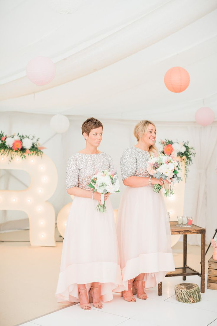Bridesmaids in Coast Separates | High Low Skirts | Sequin Tops - Katy Melling Photography | Blush Family Wedding at Old Horton Grange Farm in Yorkshire