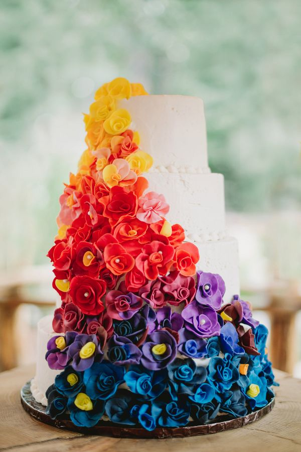 The Most Colorful Wedding Cake|A Woodsy Summer Wedding inspired by Colors of the Sunset & Night Sky|Photographer: James Tang Photography