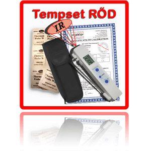 http://www.egenkontroll.nu/Storsaljare/TempSet-Rod.html  TempSet Röd  Använd populära KombiTemp för att scanna av livsmedel vid ankomst och i kylar och frysar. Använd sedan insticksgivaren för noggrannare undersökning av kärntemperaturen. Gör rent insticksgivaren med 200 st medföljande ProbRent...