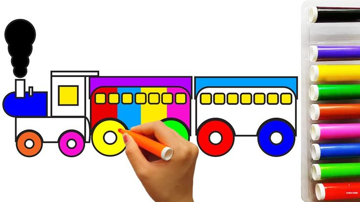 Coloring train | Learn colors for kids with train coloring pages | Fun c...