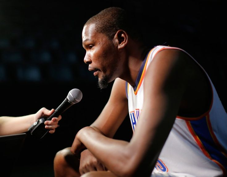 Kevin Durant answers a reporter's questions during media day interviews and photo sessions for the 2015-2016 Oklahoma City Thunder basketball team inside Chesapeake Arena on Monday, Sep. 28, 2015. Photo by Jim Beckel, The Oklahoman.