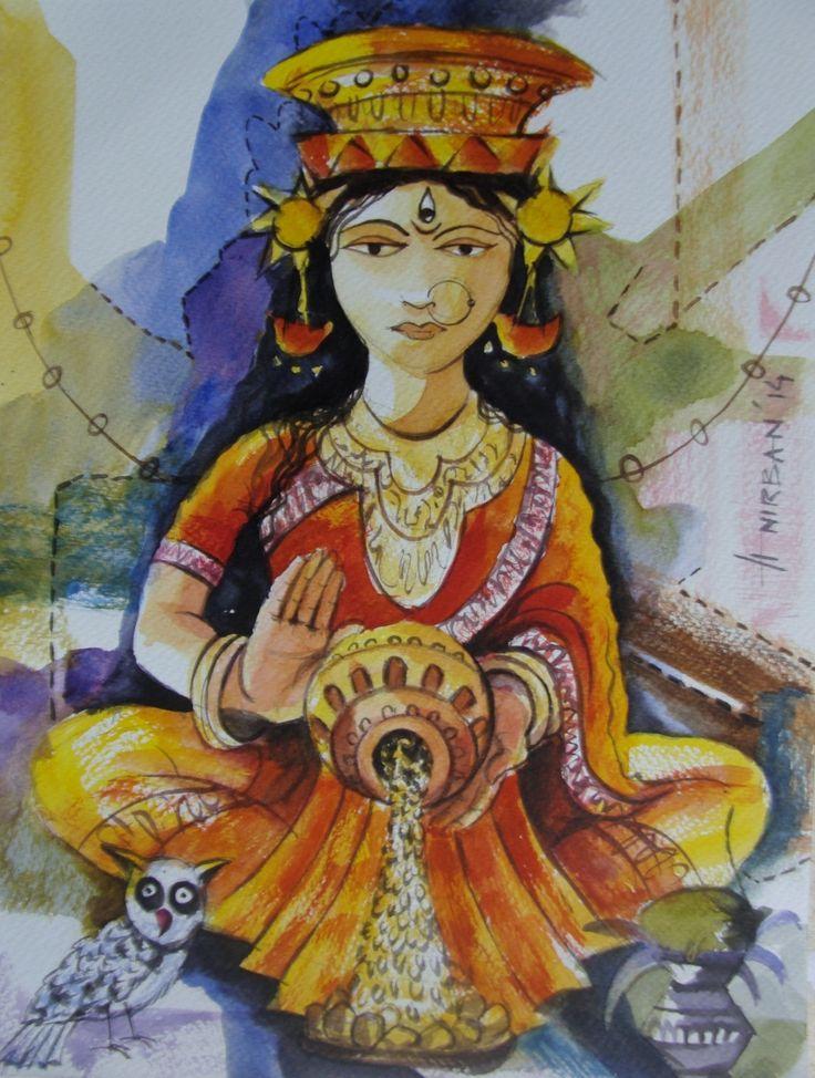 Buy Paintings Online by Artist Anirban Seth - Lakshmi Mata-I - CE102108