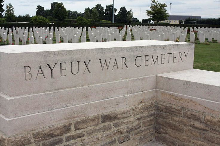 BAYEUX WAR CEMETERY, Calvados; is the largest WWII Commonwealth cemetery in France; IT contains burials brought in from the surrounding districts and from hospitals that were located nearby. Completed in 1952, it contains 4144 WWII Commonwealth burials, 338 are unidentified. The Bayeux Memorial stands opposite the cemetery + bears the names of more than 1800 men of the Commonwealth land forces who died in the early stages of the Normandy campaign  have no known grave.