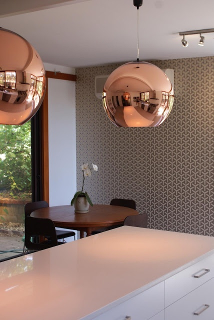 I love the colours of my kitchen so much (the Tom Dixon lights and O wallpaper) that I think I want to replicate a similar palette in Singapore