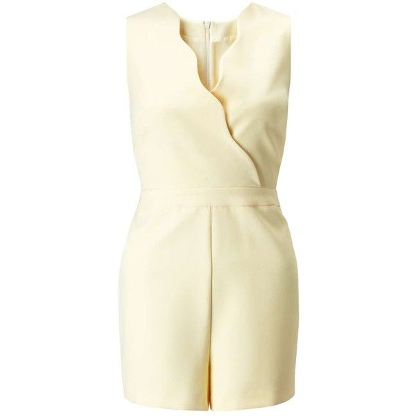 Miss Selfridge PETITE Lemon Scallop Playsuit (2.445 RUB) ❤ liked on Polyvore featuring jumpsuits, rompers, lemon, petite, playsuit romper, sleeveless rompers, miss selfridge and sleeveless romper