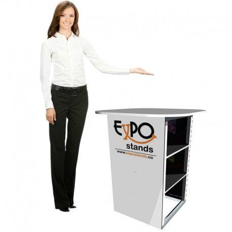La mesa de reunión y ventas es un sistema 100% portable, estructurado en aluminio, muy fácil de transportar, armar y desarmar. Soporta hasta 4 interlocutores a su alrededor.