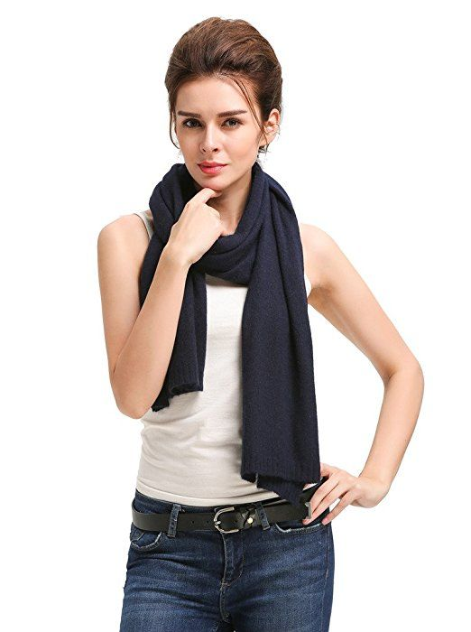 Miuk Women's 100% Pure Cashmere Knit Scarf Black