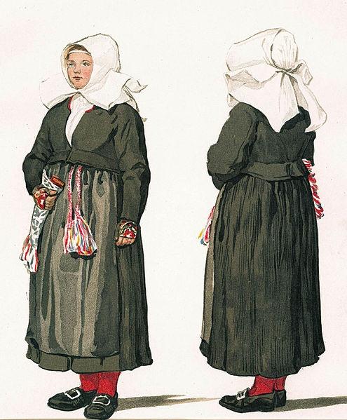 Folkdräkt, högtidsdräkt. Gagnefs socken, Dalarna. Emelie von Walterstorff - Nordiska Museet
