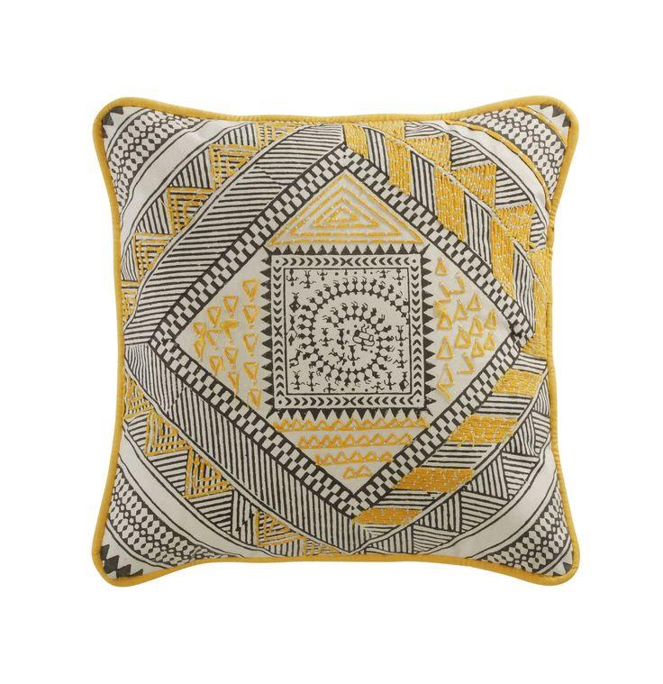 Coussin en coton jaune/noir 30 x 30 cm  BOMANE