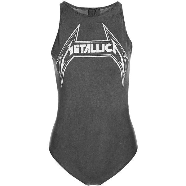 Metallica Body by and Finally (660 MXN) ❤ liked on Polyvore featuring tops, logo top, topshop tops and high neck top