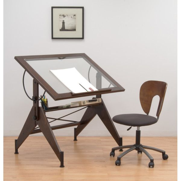 """Features:  -Can be used as a light table.  -Built-in pencil groove with 24"""" pencil ledge.  -Top angle adjusts from flat to 75 degrees.  -Clear glass.  -4 Floor levelers for stability.  Style: -Contemp"""