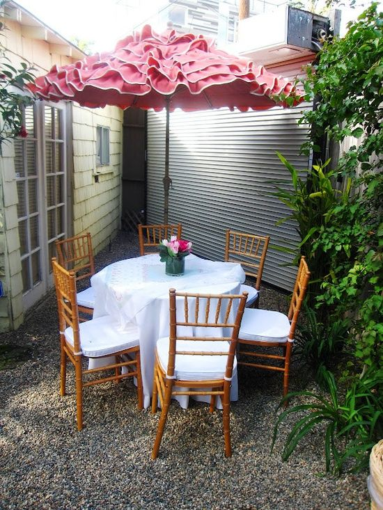 Ruffled patio umbrellas wish list pink ruffled patio for Small patio furniture with umbrella