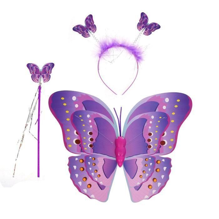 """Воздушные шары оптом в Кемерово и Новокузнецке, товары для праздника, подарочная упаковка, гелий, небесные фонарики, оформление воздушными шарами - Магнит Чудес - Карнавальный набор """"Бабочка"""" 3 предмета: крылья, жезл, ободок"""