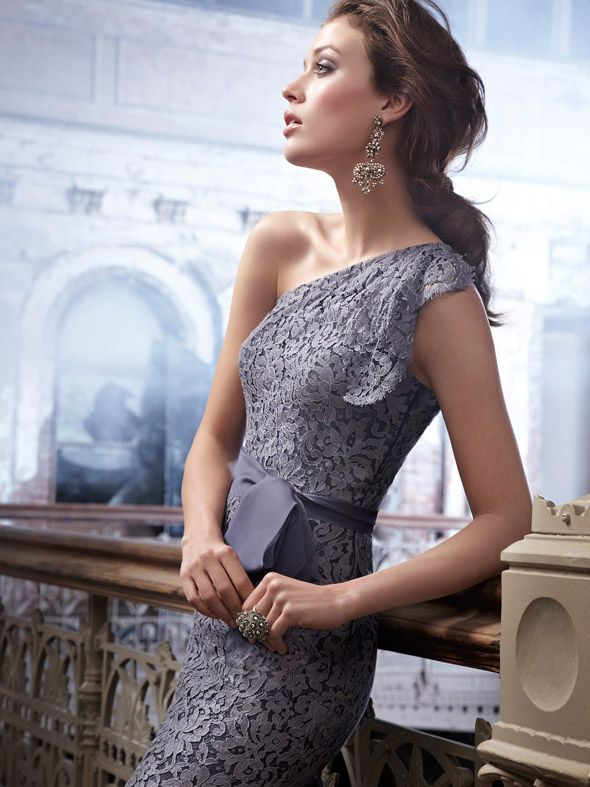 Graphite One Shoulder Lace Short Sheath Bridesmaid Dress