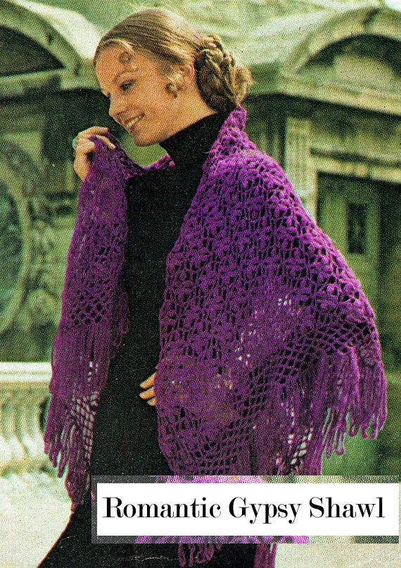 PDF Vintage Womens Ladies Gypsy Shawl Crochet Pattern 1970s