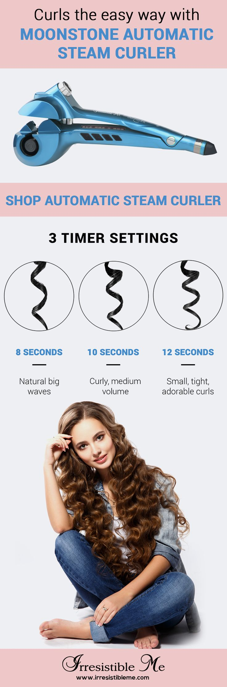 The Moonstone Automatic Steam Curler gives you a better, faster way to create perfect, consistent curls. The curling chamber heats the hair from all directions while the steam helps seal nourishing moisture for gorgeous, beach waves. The titanium coating enhances its durability and heat transfer, unlike conventional ceramic irons. Sign up to shop our entire collection of premium hair tools with curlers and hair stylers.