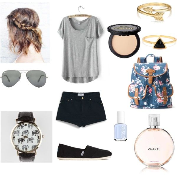 Untitled // 4 by lucywerta on Polyvore featuring polyvore fashion style MANGO TOMS Candie's Bling Jewelry Ray-Ban Chanel Essie