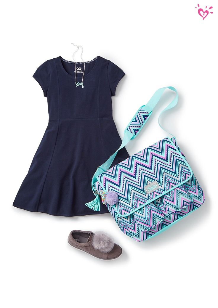 Always in style: a soft dress in a flowy silhouette. Just add pom-pom sneakers and a fun book bag!