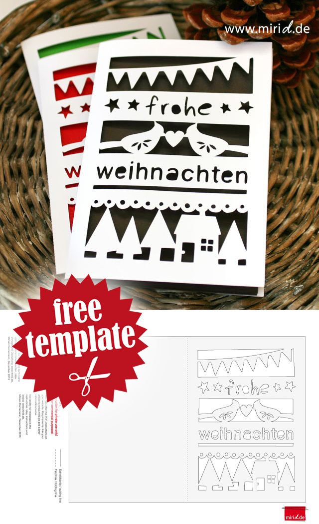 Christmas Card incl. template as PDF and dxf. Go get it! / Weihnachtskarte inkl…
