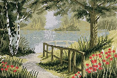 needlepoint houses and landscape | Poppy Lakeside is a chamring view over attractive red blossom covered ...