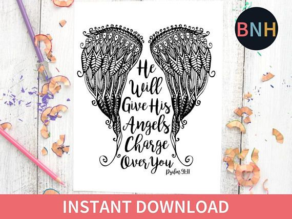 Psalm 91 11 Coloring Page Scripture Coloring Page Angel Wings