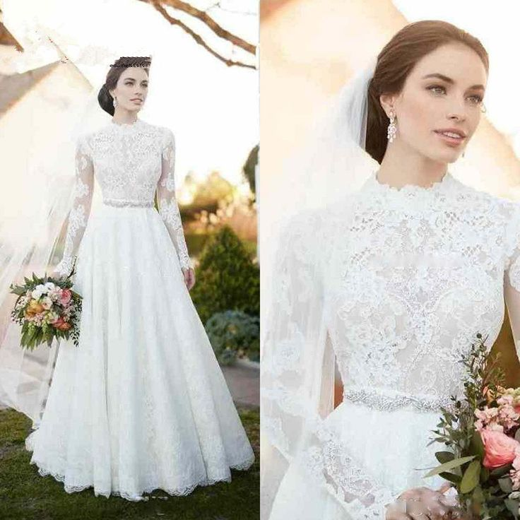 High Neck Vintage Lace Wedding Dresses 2017 Appliques Illusion Long Sleeve Wedding Dresses with  ...