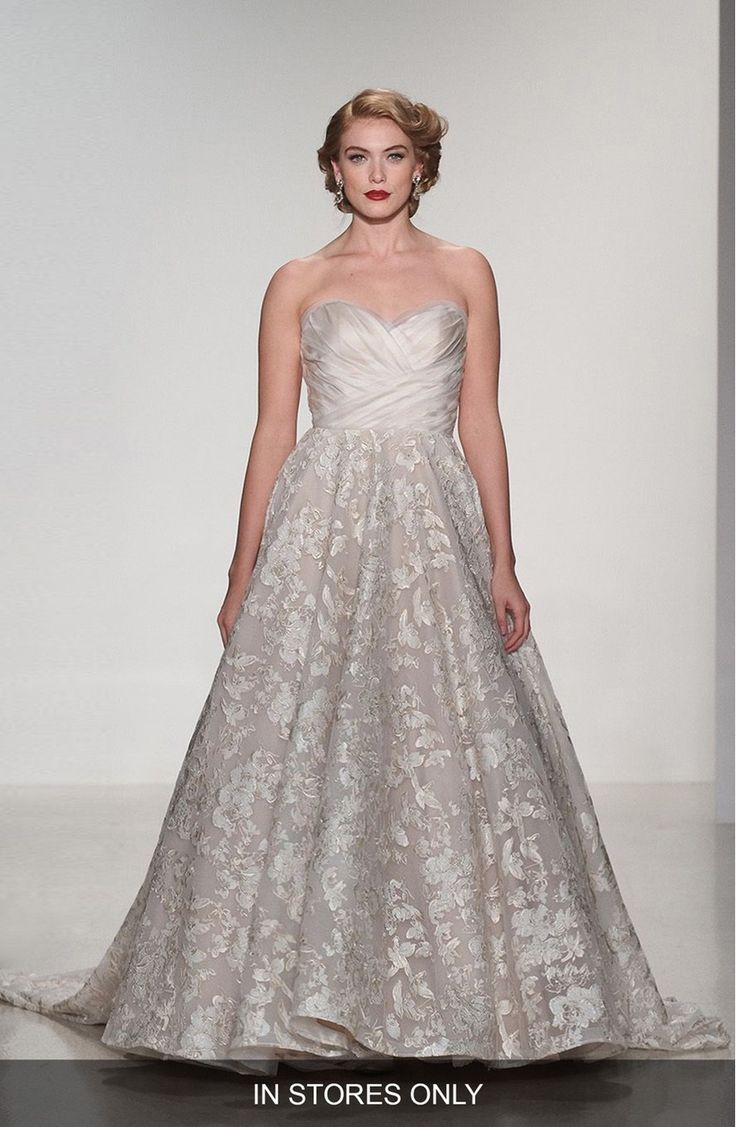 Main Image - Matthew Christopher 'Shelby' Strapless Organza & Lace Ballgown (In Stores Only)