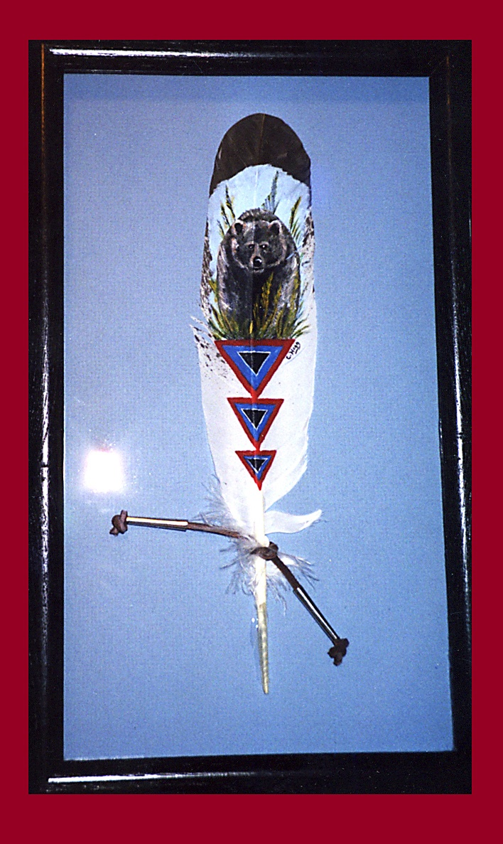 Native American theme with bear on an imitation Eagle feather. http://greaseandgrace.com/