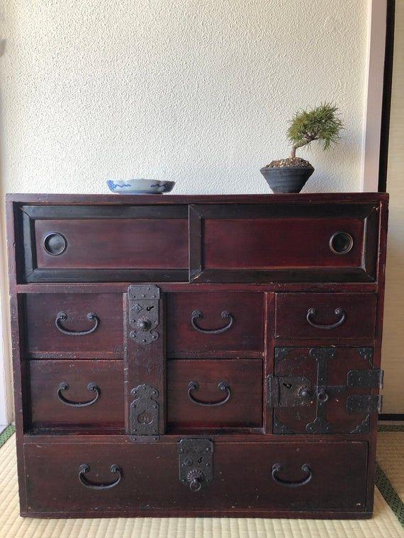 Antique Meubles Japonais Vetements Coffre Interieur Cabinet Etsy Japanese Furniture Furniture Small Doors
