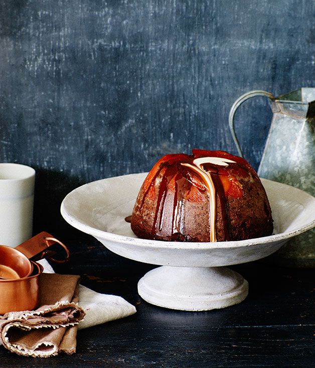 Australian Gourmet Traveller recipe for quince and chocolate pudding.