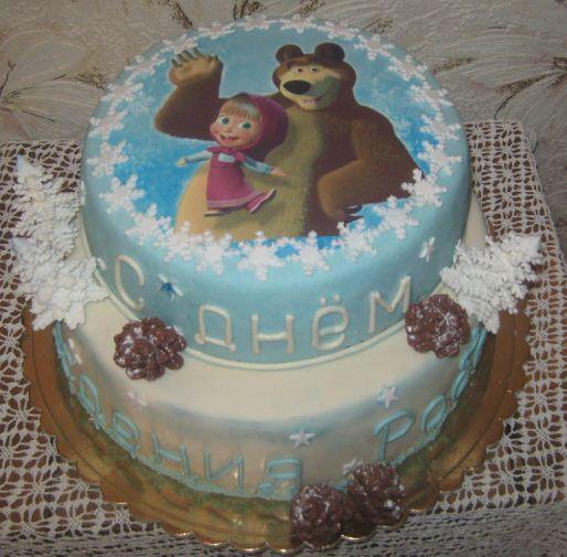 торт зимний Маша и Миша