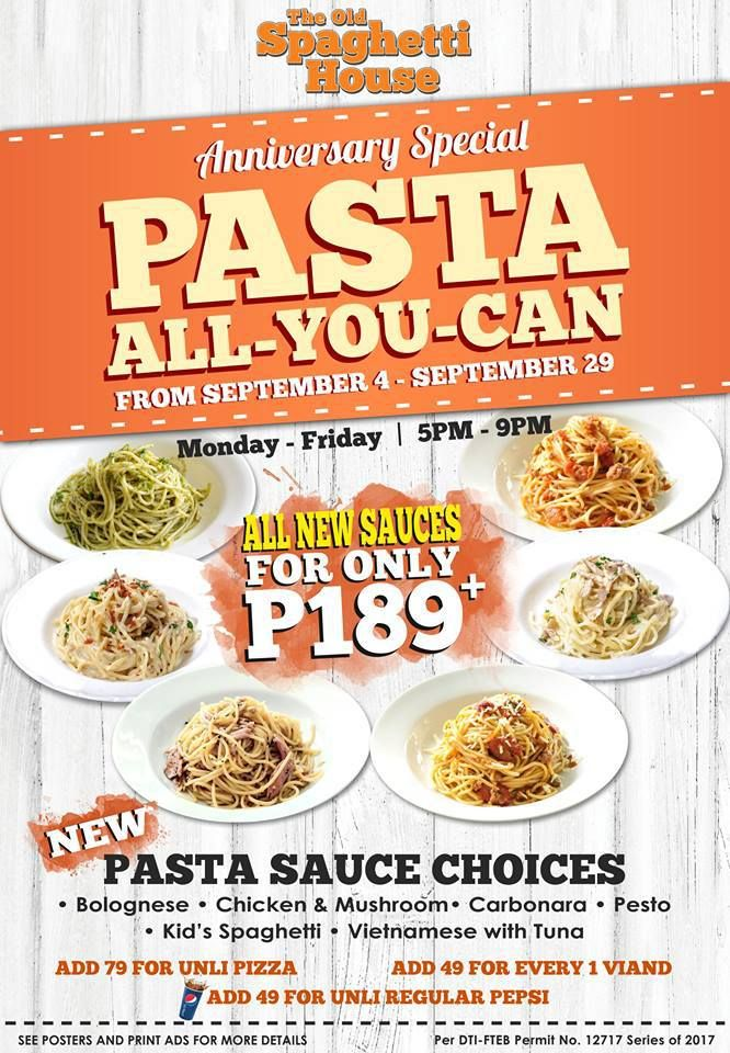 Pasta All You Can for Php189 @ The Old Spaghetti House #DealsPinoy