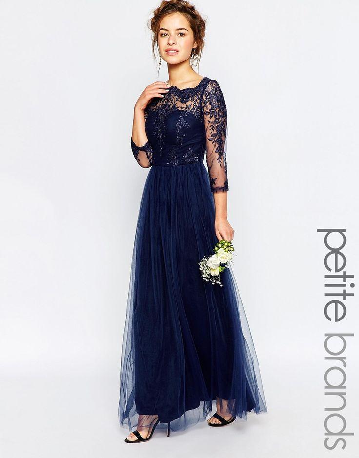Image 1 ofChi Chi London Petite Bardot Lace Maxi Dress