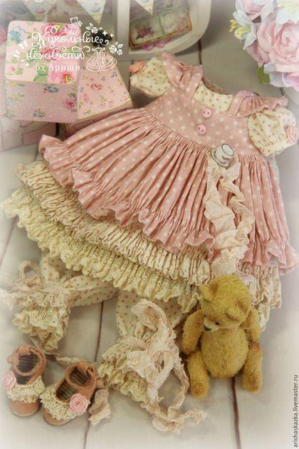 """Одежда для кукол ручной работы. Заказать """" Чай с Коржиком """" комплект для куклы , шебби шик. Кукольные нежности от…"""