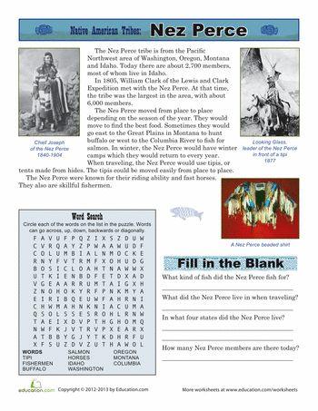 Worksheets: Native American Tribes: Nez Perce
