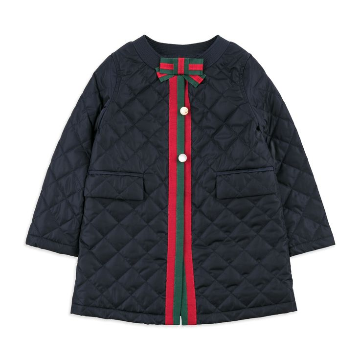 GUCCI Baby Girls Quilted Coat - Navy Baby girls coat • Soft woven fabric • Snap button closure • Interlocking G buttons • Signature web trims • Front flap pockets • Made in Italy • Material: 100% Polyamide