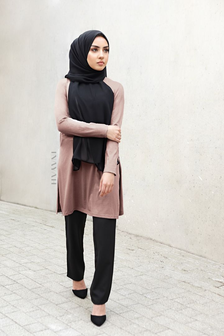 "INAYAH | THE AALIYAH EDIT: ""There is power to modesty"". - Mushroom Cotton Blend Top + Black Straight Leg Trousers + Black Soft Crepe Hijab www.inayah.co"