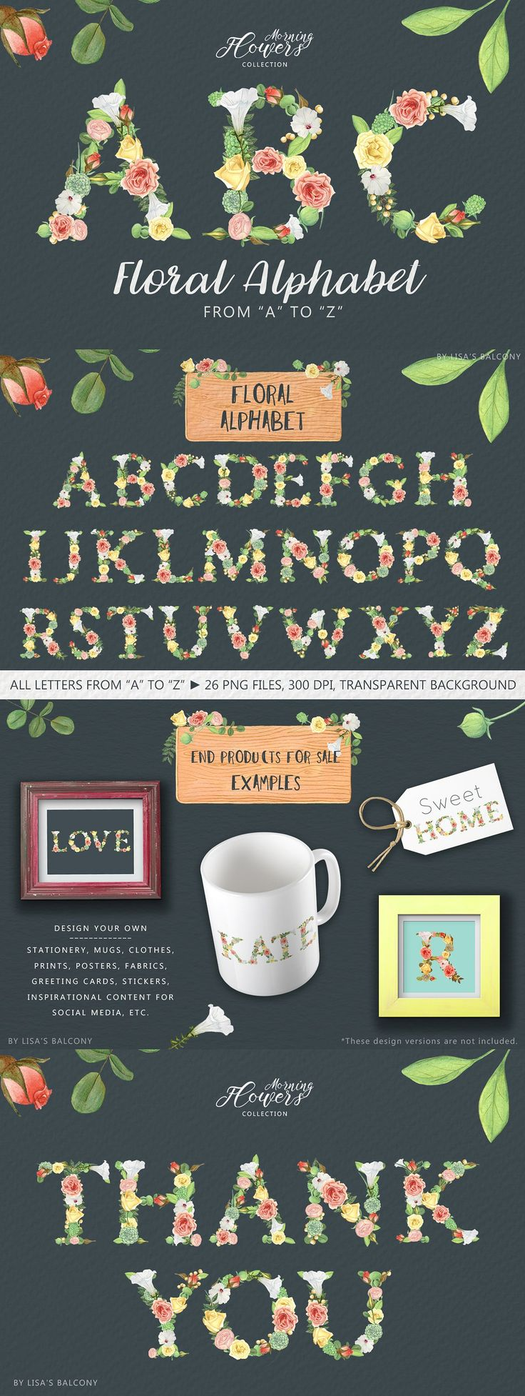 Affiliate | Floral Alphabet – Morning Flowers. Elegant and romantic floral letters that you can use to create beautiful projects. Put some words together and design lovely greeting cards, wedding stationery, prints, web images (content for your social media and blog), book covers, mugs, t-shirts, etc.