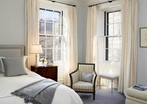 17 best images about blue white decor on pinterest foo - Curtain color for gray walls ...
