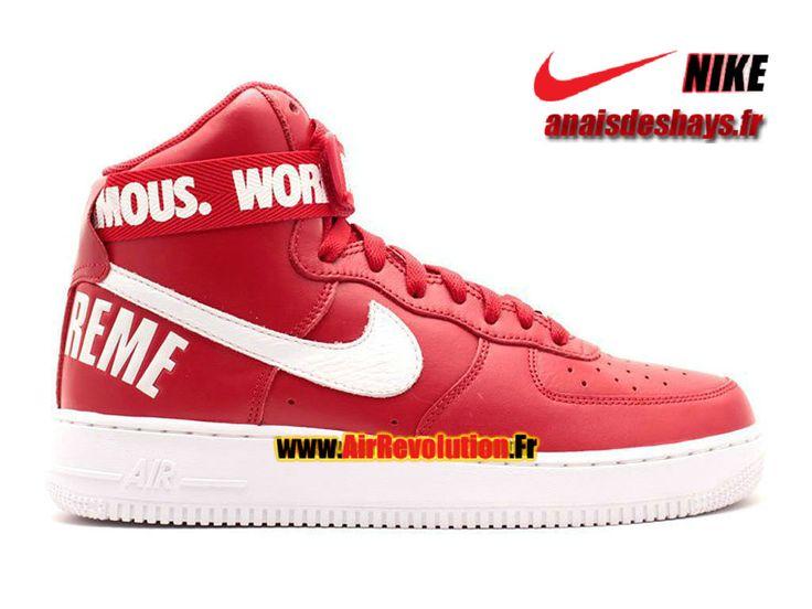 Boutique Officiel Nike X Supreme Air Force 1 High GS Femme/Enfant Rouge intense/Blanc 698696-610G