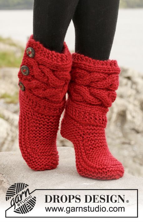 "These Knitted DROPS slippers with cables in ""Eskimo"" by DROPS Design make a lovely 'smallish' stocking-filling project to do between larger more ambitious work (whoever has just one WIP on the go anyway?) ;)"