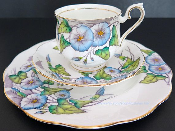 Vintage Royal Albert Tea Cup Trio Morning Glory Flower Of The Month Hand Painted Bone China England Vintage Tea Cup Set Tea Cups Tea Cups Vintage