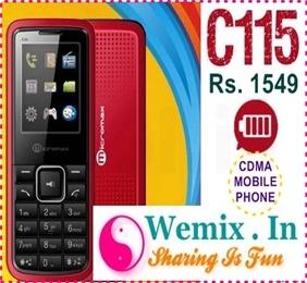 Micromax C115 CDMA Mobile Phone Rs. 1549