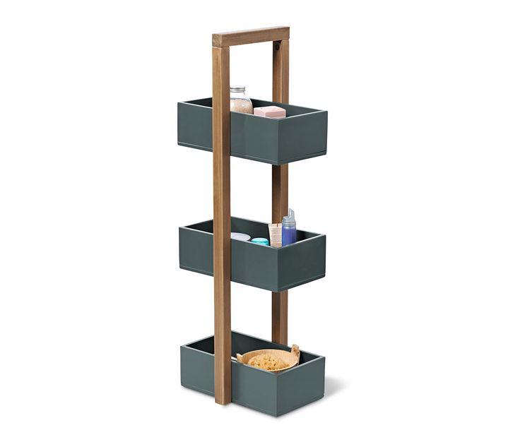 49,95 € Táto polica z kvalitného agátového dreva FSC® 100 % je ozdobou miestnosti a praktickým kusom nábytku v jednom. V troch úložných boxoch nájdu miesto napríklad kúpeľňové potreby a uteráky pre hostí. Všetky rohy sú mierne zaoblené.