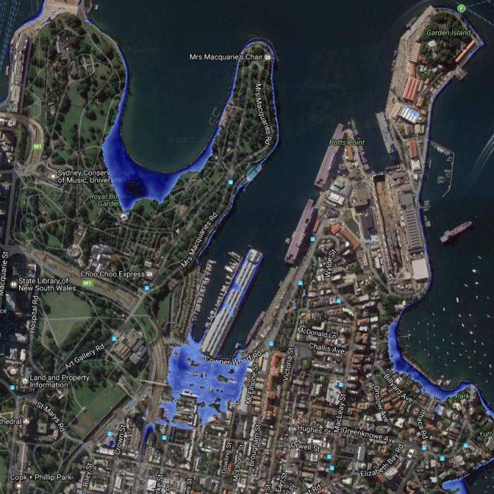 Sydney's Circular Quay and Botanic Gardens, Brisbane Airport, Melbourne's Docklands and Perth's Elizabeth Quay will all be underwater in dramatic new climate modelling.