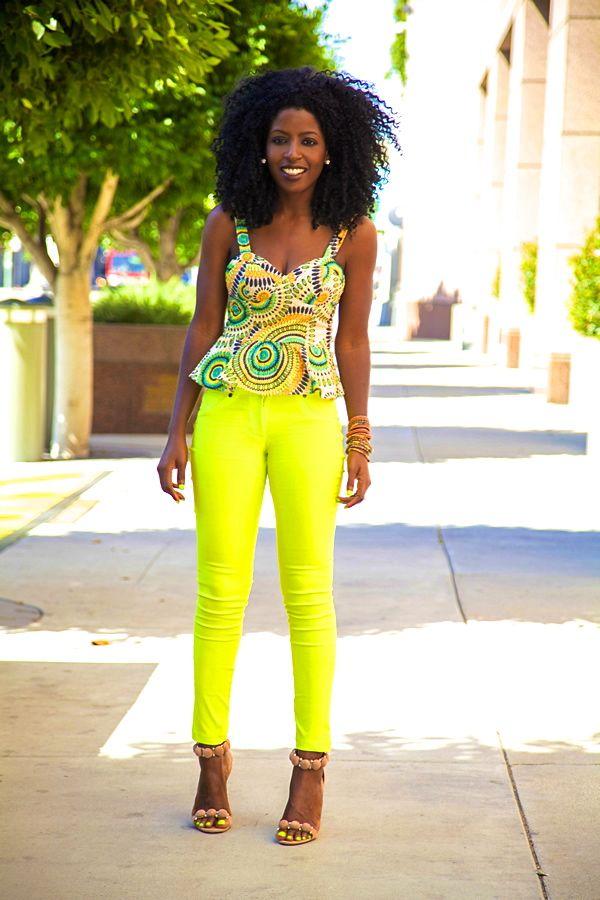 gorgeous colors neon jeans peplum bustier