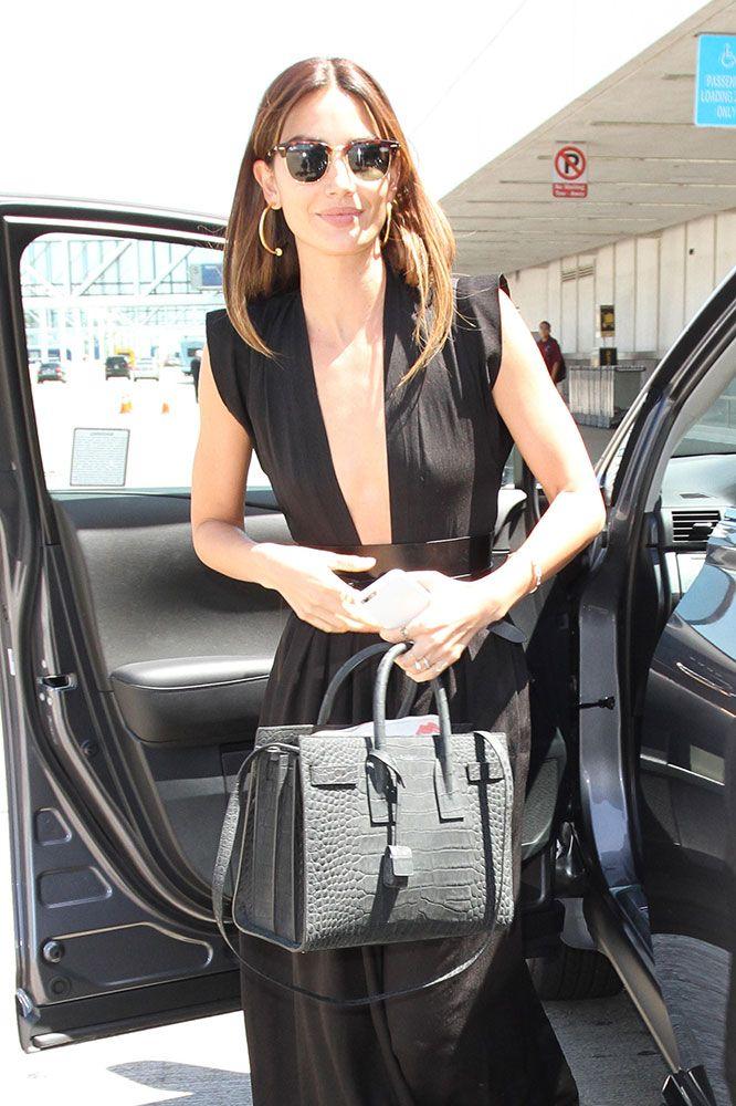 saint lauren handbags - Lily-Aldridge-Saint-Laurent-Croc-Embossed-Sac-de-Jour-Bag   Bag ...