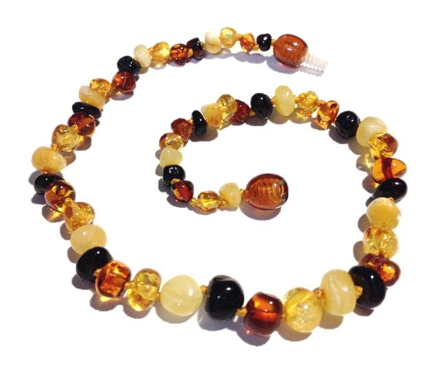 Genuine Baltic Amber Teething Necklace - Mixed With White