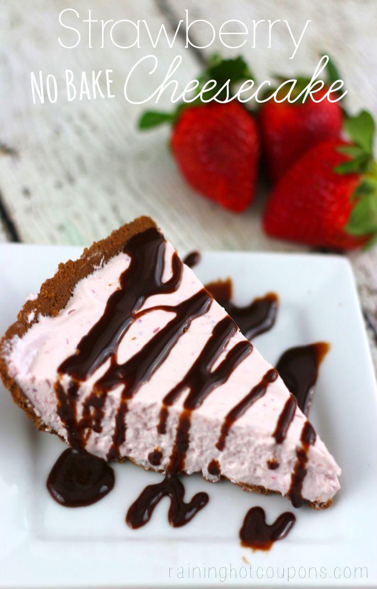 Strawberry No-Bake Cheesecake  --  pureed fresh strawberries, sweetened condensed milk, cream cheese, Cool Whip, and lemon juice mixture in a chocolate cookie crust.