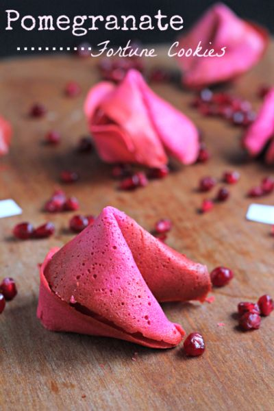 Pomegranate Fortune Cookie (recipe)... great for Valentine's Day parties